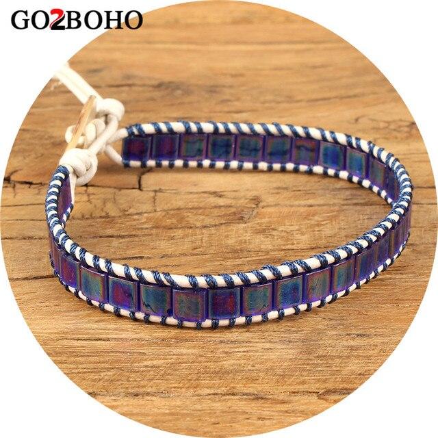 Go2boho Dropshipping Wrap Bracelet Leather Matte Blue Beaded Bracelets Single Women Men Jewelry Gifts Miyuki Tila