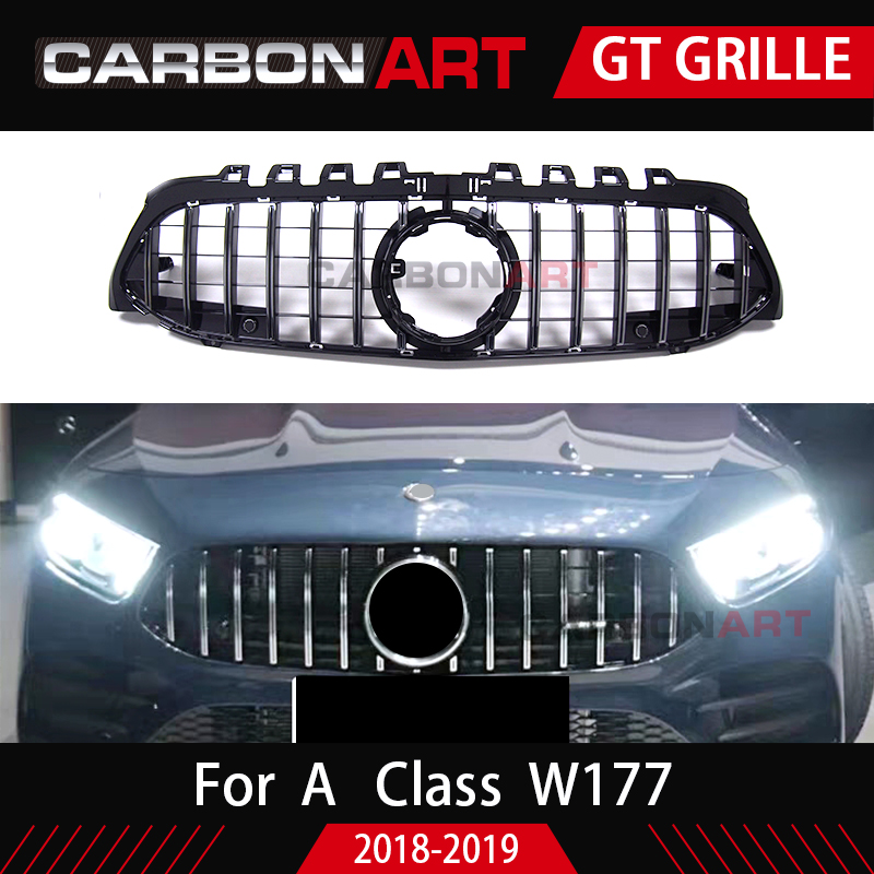 2019 New A Class GT Grill Front Bumper Racing Mesh ABS Car Styling For Mercedes A200 Sports Sedan w177 Amg grill in Racing Grills from Automobiles Motorcycles
