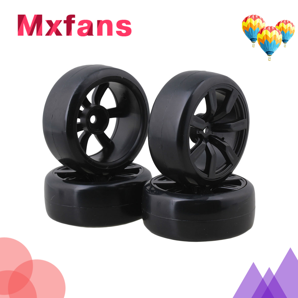 Mxfans 4pcs Slick Tires with Wheel Rims for RC 1:10 On-Road Racing Car & Drift Car mxfans 4 pcs aluminum alloy wheel felloe rc 1 10 on road rimmer black wheel rims