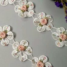 1yard Rhinestones Embroidered Fabric Lace Soluble Polyester Flower Diamond Trim Ribbon Handmade DIY Sewing Costume Decoration