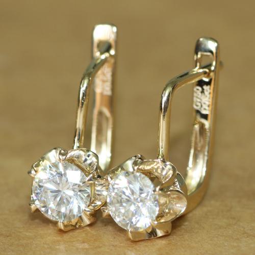 1CT Lab Grown Moissanite Diamond 14K 585 Yellow Gold Earrings