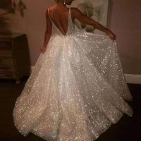 Formal Party Wedding Shiny Deep V Women Sexy Sleeveless Backless Maxi Gown Swing Dresses