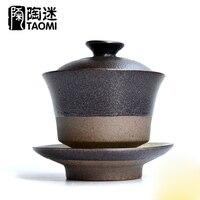 Drinkware Coffee Tea Sets Black Ceramic Gaiwan Tea Cup Teapot Chinese Kung Fu Tea Set Porcelain