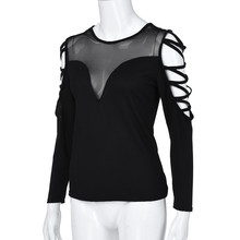 Plus Size Womens Tops and Tunic Mesh Blouse Women Clothes Gothic Lace Up Ladies Top