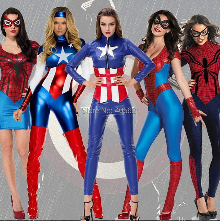 the avengers spider man captain america super heroes bodysuits cosplay halloween adult female jumpsuits roleplay - Heroes Halloween Costumes