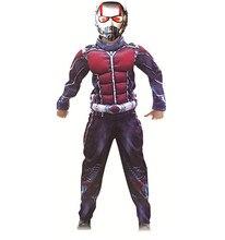 디럭스 개미 남자 근육 의상 소년 마블 새로운 슈퍼 히어로 코스프레 할로윈 멋진 드레스 3pcs 복장 아이를위한