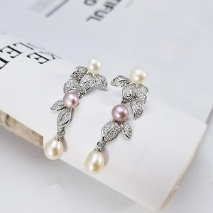 Image 5 - [MeiBaPJ] 성격 패션 자연 진주 꽃 세트 S925 실버 귀걸이 & 목걸이 여성을위한 훌륭한 보석 세트