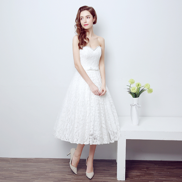 high quality ivory White vintage strapless lace tea length wedding ...