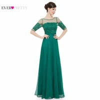 New Arrival Prom Dresses Free Shipping 2015 Elegant Green Half Sleeves Maxi Vestido Longo De Festa