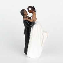 1 Piece African American sweet love Bride Figurine Groom Wedding Cake Topper marriage Event  Party Supplies anniversary Black