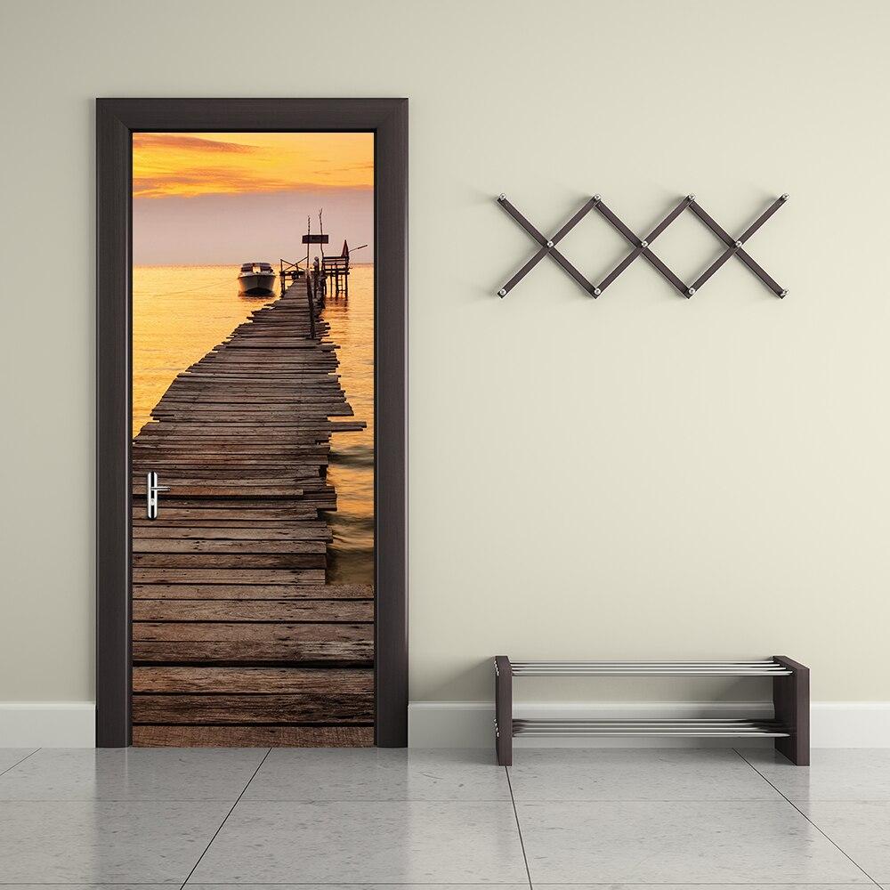 Mar vista Mural Seaside Pier puesta de sol paisaje 3d puerta pegatinas inicio salón decoración de la pared vinilo removible Wallpaper