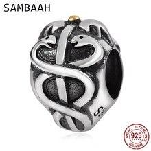 Sambaah Life Saver Charm 925 Antique Sterling Silver Snake Beads fit Original Pandora Style Women Animal Silver Bracelet SS2579 цена