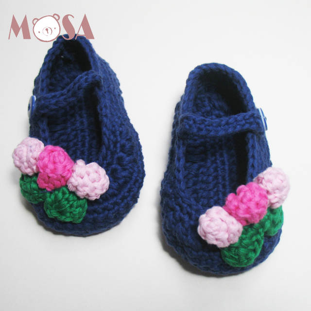 51c3fd98dc88a Hand Crochet Girl Mary Jane Shoes with Flowers 8 Colors Baby Girl Knitted  Shoes Booties Newborn To Toddler Ready to Ship