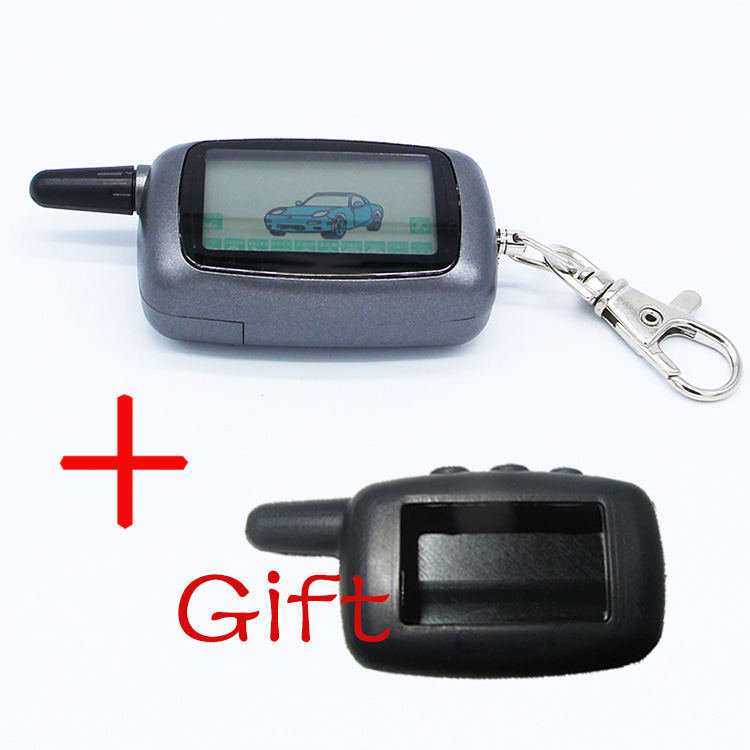 Russia Version Case Keychain For Starline A9 LCD Remote 2 Way Two Way Car Alarm System + silicone case Free Shipping