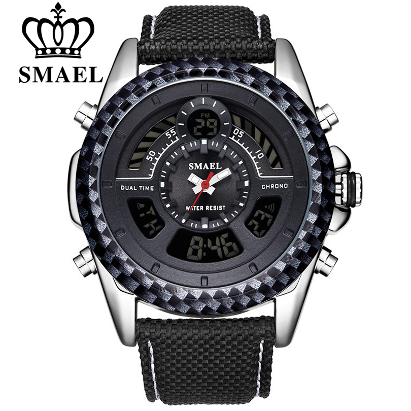 SMAEL 6 Colors Men Military Sport Watches Mens LED Analog Digital Watch Male Army Dual Display Quartz Clock Relogio Masculino цена 2017