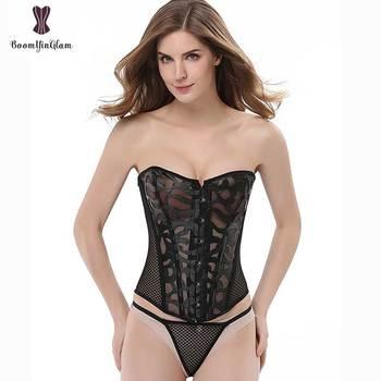 726aa60654 Hueco Sexy corsé blanco negro Plus tamaño underbust Bustier Lencería  cintura Corcelet mujer Sexy corsé transparente corsé Femme