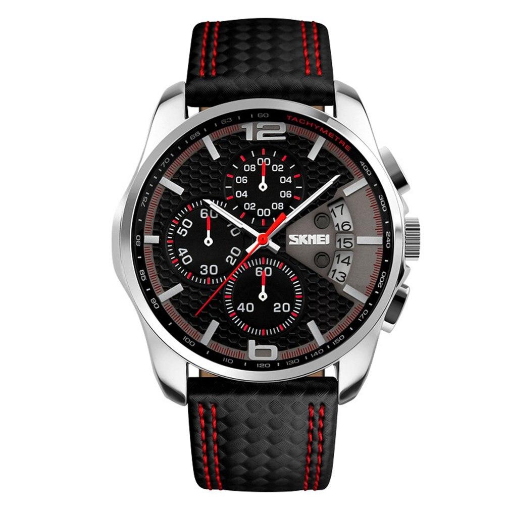 Box Male Watches Luxury PU Leather Strap Round Dial Quartz Watch Sport Watch