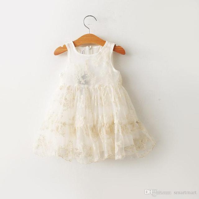 9628c16d7 Everweekend New Kids Girls Lace Embroider Dress Princess Sleeveless ...