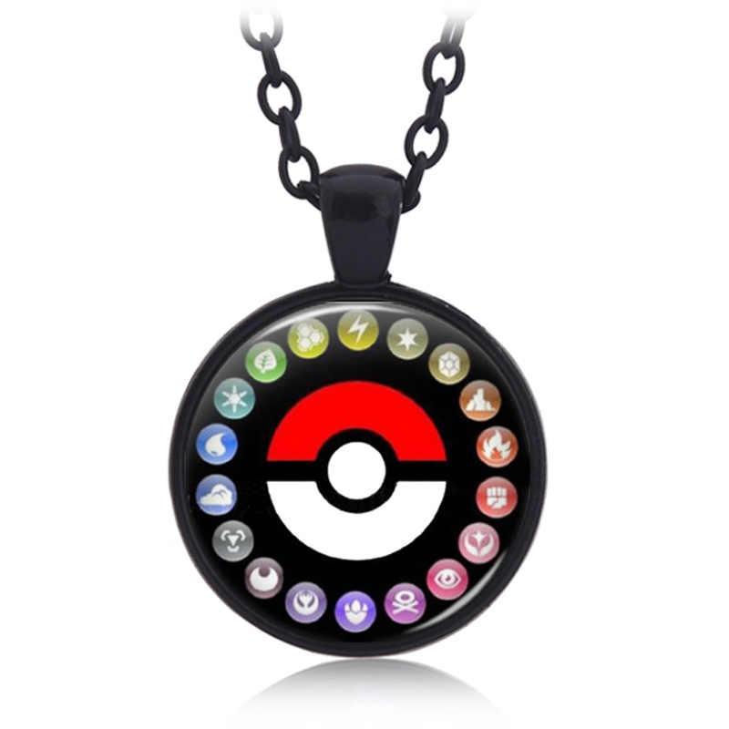 Anime Pokemon Necklace Glass Cabochon Mặt Dây Chuyền Trang Sức Halloween gift Phim Hoạt Hình Poke Bóng Phụ Kiện cho người lớn và trẻ em