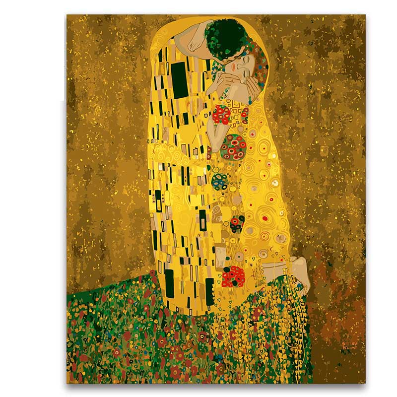 Coloring by numbers package Gustav Klimt kissing gold figure paintings pictures with kits for living room decoration
