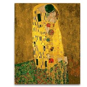 Раскраска по номерам упаковка Gustav Климт целующийся золотой рисунок картины с наборами для украшения гостиной
