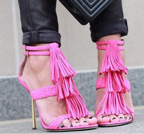 Ladies Charming Women Open Toe Tassels Buckle Design Stiletto Heel Gladiator Sandals Cut-out High Heel Hot Pink Blue Sandals fashion women s sandals with metal and stiletto heel design