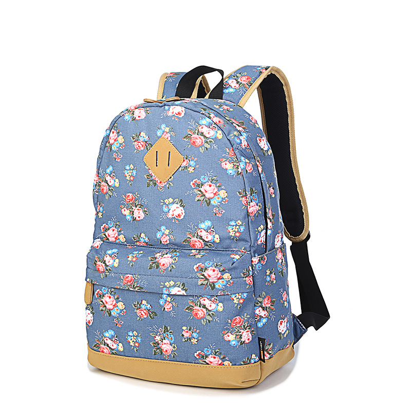 New Fashion Floral Backpacks For Teenager Girls Canvas Backpack ...