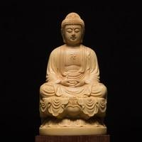 Wood carving buddha wood buddha statue buda estatua Shakyamuni craft buddha sculpture for home decor