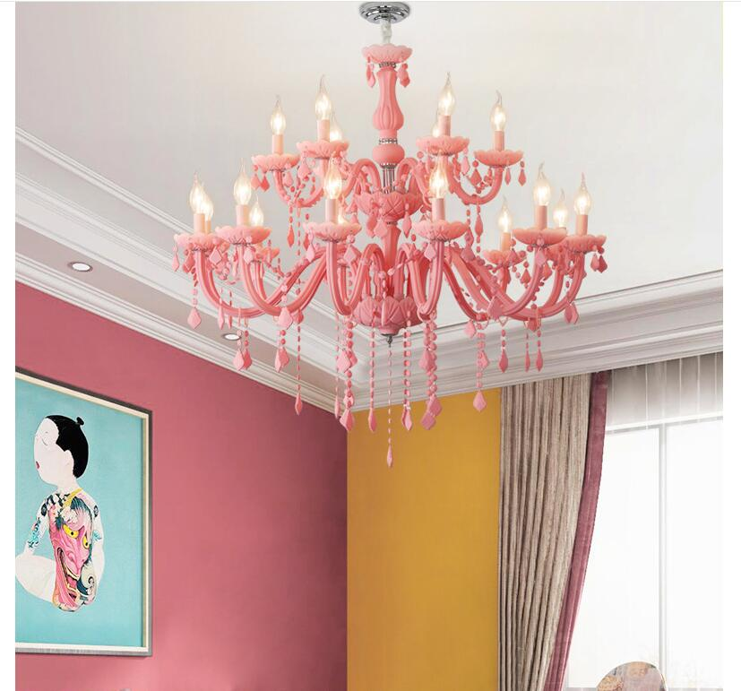 Us 120 73 11 Off Free Shipping Modern Pink Chandelier Macaron Color Pendant Children Bedroom Lamp Creative Fantasy Luminaire Stained Gl Re In