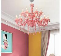 Free Shipping Modern Pink Chandelier Macaron Color Pendant Children Bedroom Lamp Creative Fantasy Luminaire Stained Glass Lustre