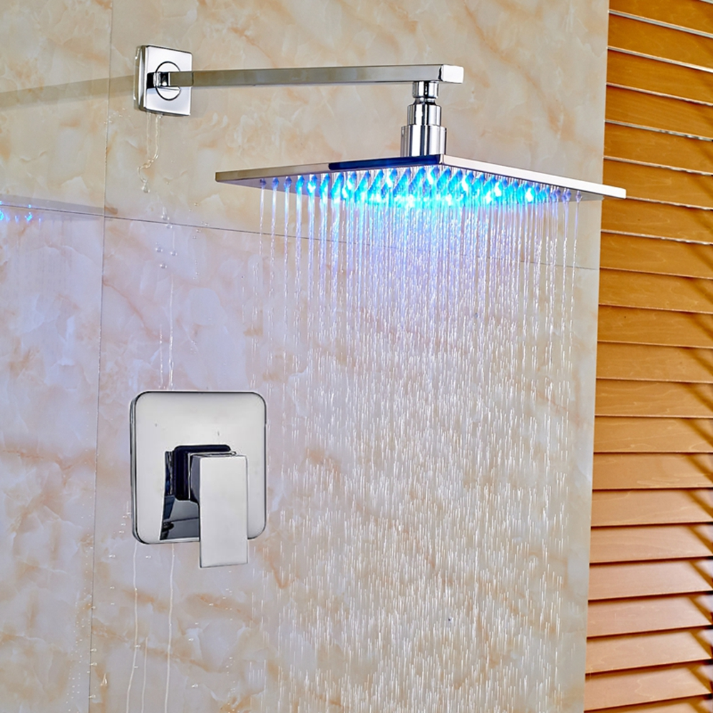 Newly Arrival Shower Faucet Mixer LED Changing Wall Mount Chrome Finish Shower Faucet Tap contemporary chrome finish wall mount 7 color changing led showerhead silver