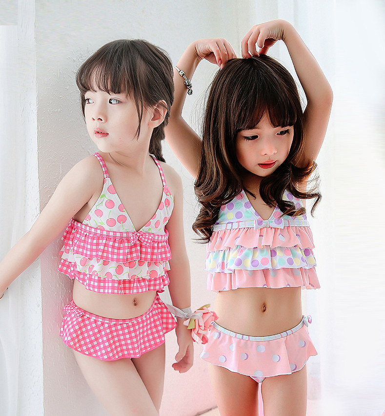 retail cute children's swimsuit girls yellow bikini set baby girl swimwear little swimsuits children beach clothes - woof-woof Store store