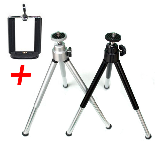 Universal Mini Tripod Stand With Phone Clip Bracket Stand Mount For Mobile Phones Gopro Action Cameras Support
