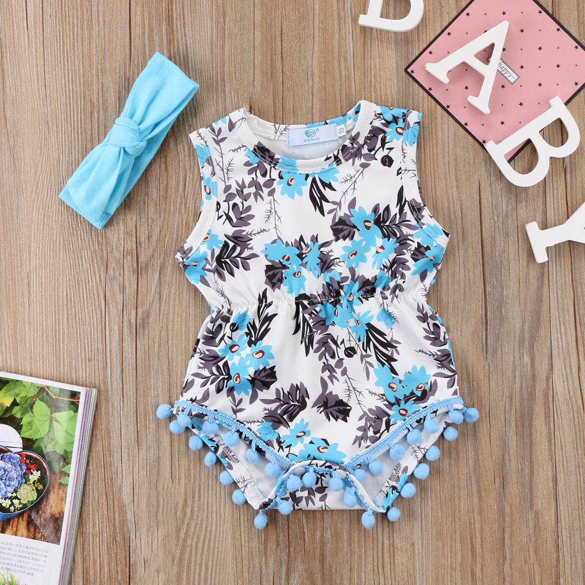 Newborn Infant Baby Kid Girls Clothes Floral Romper Headband Jumpsuit Bohemian beach style Clothes Suit 0-24M