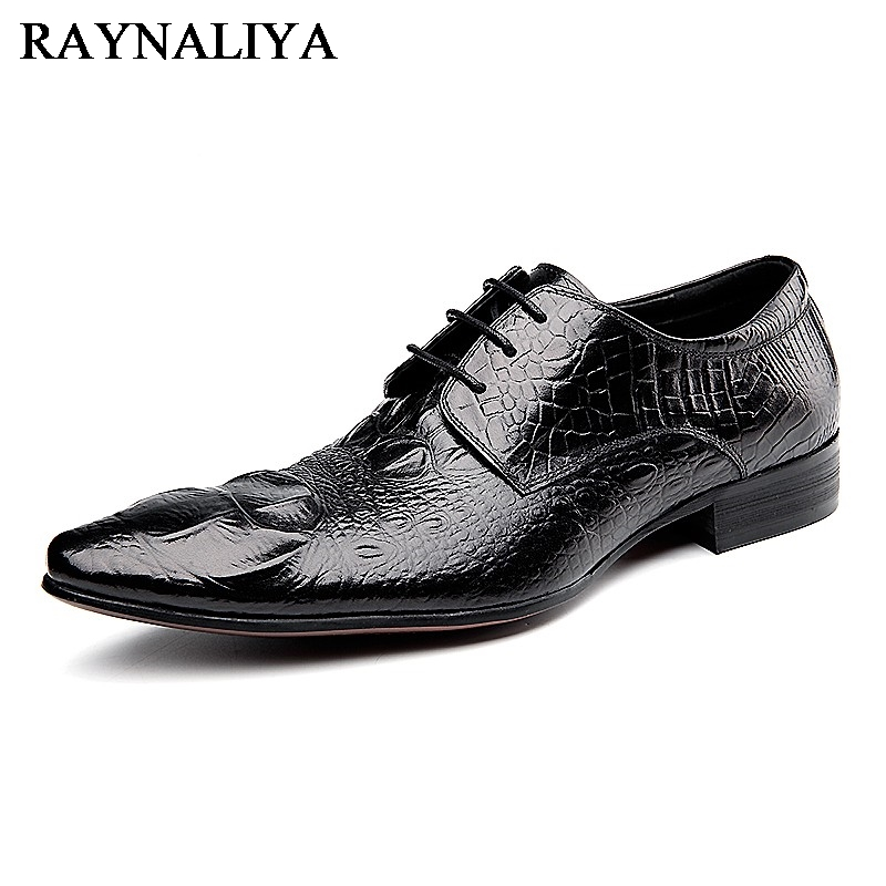 New 2018 Fashion Men Dress Shoes Black Cow Leather Pointed Toe Male Oxfords Business Shoes Lace-Up Men Formal Shoes YJ-B0034 okhotcn male pointed toe cow leather shoes daily plaid men casual business dress shoes oxfords men flat lace up sapato masculino