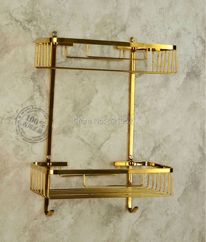 Free Shipping Wall Mounted Gold Polished Brass Bathroom Accessories / Soap / Sponge & Body Wash Shower Dual Tier Storage Basket black oil rubbed brass bathroom accessory dual tier shower soap sponge tray caddy basket wire storage rack wall mounted aba530