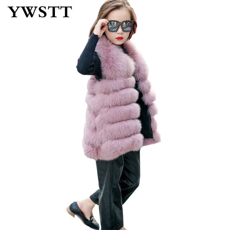 все цены на 2018 Winter Children's Faux Fur Vest Girls Artificial Fur Vest Luxury Jacket Princess Imitation Fox Fur Coat