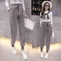 Linen Pants Women Heremes Harem Pants Plaid Panties Baggy Loose Pant Spring Summer Trousers Autumn  Linen Trousers Women