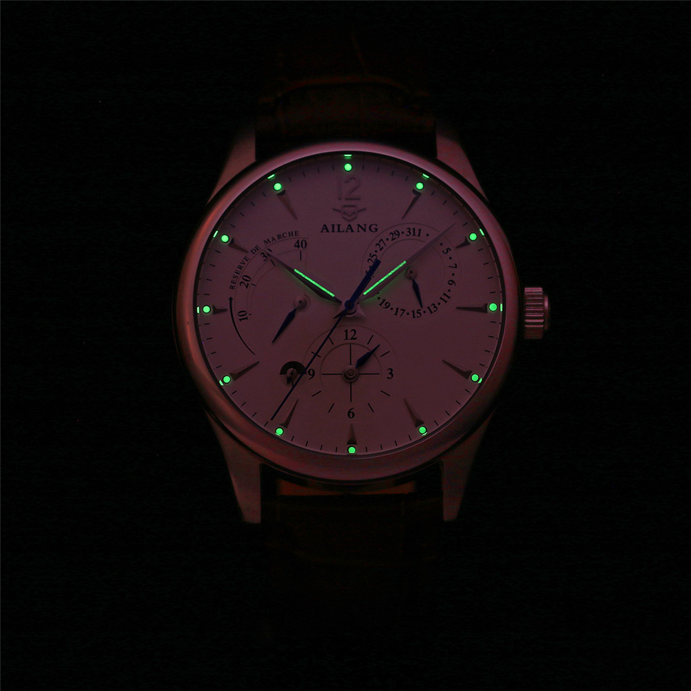 AILANG 기계식 시계 남성 정품 가죽 시계 달력 방수 - 남성 시계 - 사진 4
