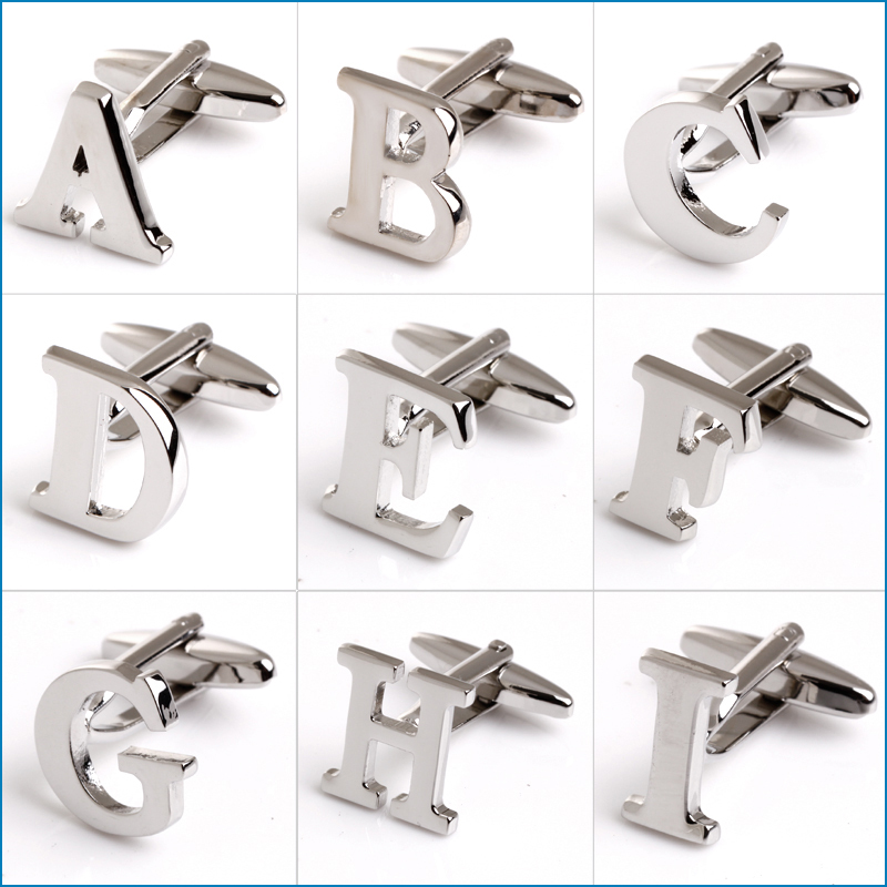 a z silver letter cufflinks silver initial a letter cufflink for male french shirt wedding cufflinks 1