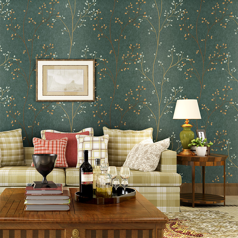 American Style Wallpaper Roll Rustic Wall Paper Tree Mural Green Branch Tree Wallpaper for Walls 3 d Non Woven Wallpapers Decor fashion rustic wallpaper 3d non woven wallpapers pastoral floral wall paper mural design bedroom wallpaper contact home decor