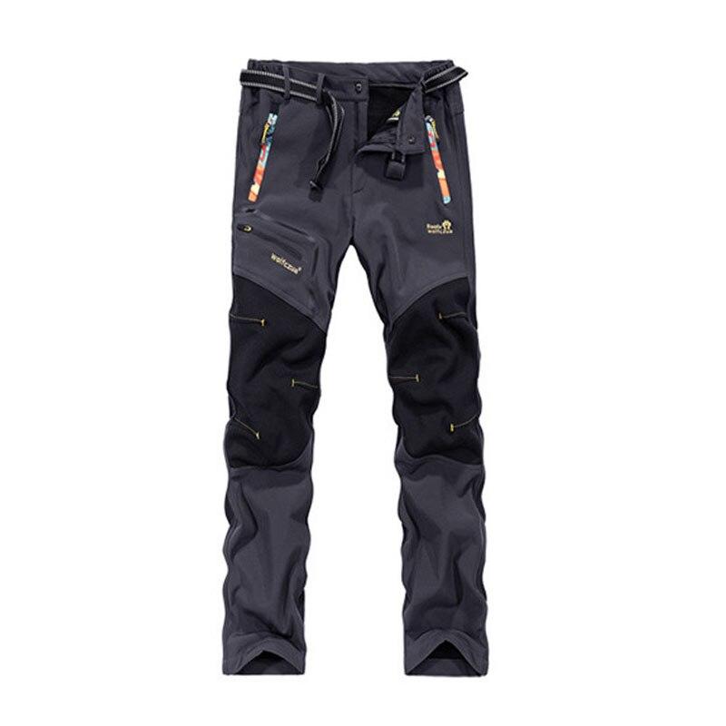 Prix pour 2016 Polaire Tech Softshell Randonnée Pantalon Hommes Imperméable À L'eau de Roche Montagne Escalade Pantalon Windstopper Ski Chasse Camp Robes