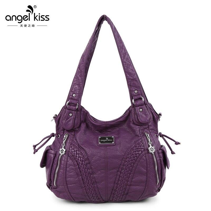 Women Solid Washed Large Capacity Shopping Shoulder Bags High Designer PU Leathe