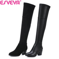 ESVEVA 2018 Winter Women Boots Over Knee High Boots Western Cow Leather PU Scrub Black Square