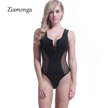Ziamonga Hollow Out Sexy Bodysuit 2018 sin mangas verano playa trajes de baño mujeres Body Top mamelucos cremallera frontal Bodysuit Femme Club(China)