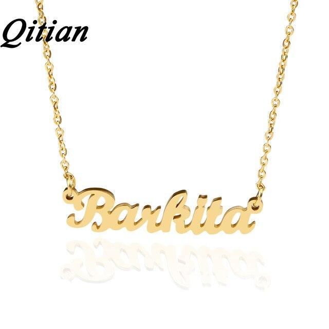 Online-Shop Qitian Name Halskette Gold Farbe Edelstahl ...