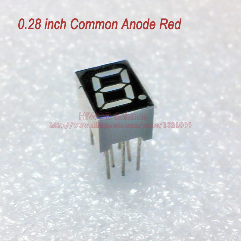 (10pcs/lot) 10 Pins 2811BR 0.28 Inch 1 Bit 7 Segment Red LED Display Share Common Anode Digital Display