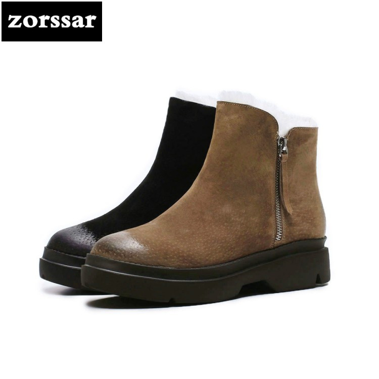 {Zorssar} 2018 New Warm Plush Snow boots Women Ankle Boots low heel shoes Vintage Martin boots Suede leather winter woman shoes{Zorssar} 2018 New Warm Plush Snow boots Women Ankle Boots low heel shoes Vintage Martin boots Suede leather winter woman shoes