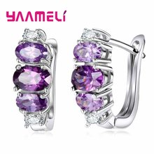 New Design 925 Silver Hoop Earrings For Women Round With Purple Cubic Zircon Charm Flower Hoop Earrings Women Jewelry(China)