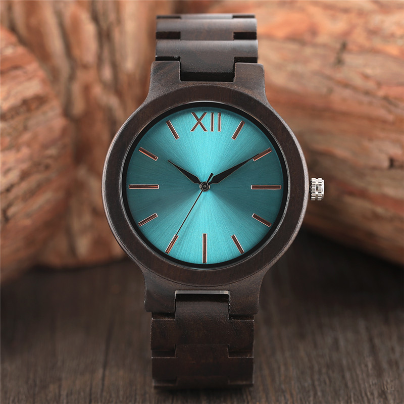 Aquamarine/Yellow Color Dial Full Wooden Watch Men Nature Wood Ebony Bangle Creative Women Watches Quartz Fashion Clock 2018 New top brand nature wood bamboo watch men handmade full wooden creative women watches 2018 new fashion quartz clock christmas gifts